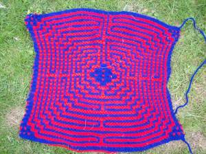 Centre of the knitted maze
